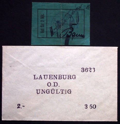LAUENBURG 1914 *Linen* 2 Mark Early WWI FABRIC note in RARE Robert Ball envelope!