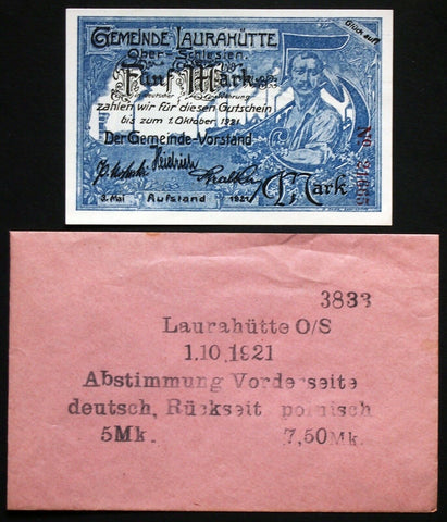 "LAURAHÜTTE 1921 Bilingual German-Polish ""Rebellion"" 5 Mk in Robert Ball envelope"