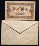 LIPPE 1918 5 Mark Grossnotgeld in 1920s Robert Ball dealer envelope! Notgeld