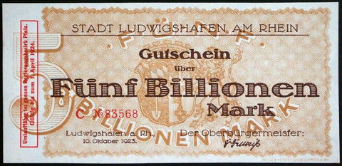 LUDWIGSHAFEN 1923 5 Trillion Mark Weimar Hyperinflation German Notgeld Banknote