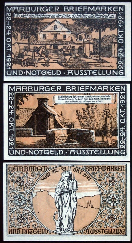 "MARBURG 1921 XX-RARE BROWN-GRAY ""Stamp and Notgeld Exhibition"" complete series"