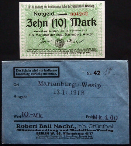 MARIENBURG 1918 10mk Grossnotgeld in Robert Ball envelope! Notgeld Westpreussen