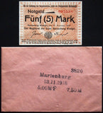 MARIENBURG 1918 5mk Grossnotgeld in Robert Ball envelope! Notgeld Westpreussen