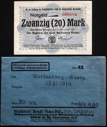 MARIENBURG 1918 20mk Grossnotgeld in Robert Ball envelope! Notgeld Westpreussen