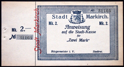 MARKIRCH 1914 *UNCATALOGED* Remainder/Specimen no sig/stub attached! 2mk Notgeld