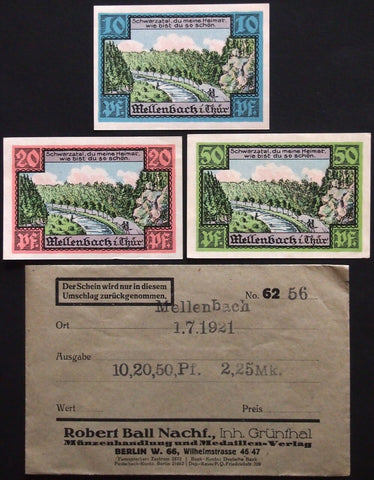 "MELLENBACH 1921 ""Schwarzatal"" complete series in RARE Robert Ball envelope!"