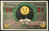 "MEMMINGEN 1918 SPECIMEN No serial! ""Man in the Moon"" 50 Pf German Notgeld"