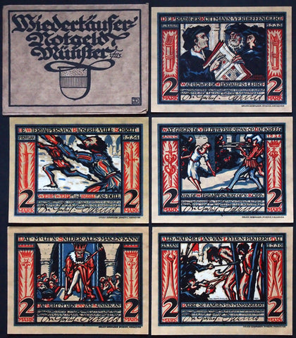 "MÜNSTER 1921 ""Story of John of Leiden"" INCREDIBLE complete series PLUS envelope! German Notgeld"
