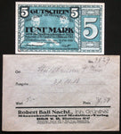 MÜHLHAUSEN 1918 5mk Grossnotgeld + RARE Robert Ball envelope! German Notgeld