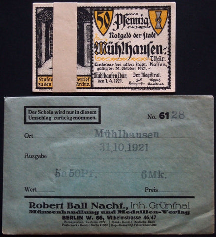 MÜHLHAUSEN 1921 Luther/Bach complete in RARE Robert Ball envelope! Notgeld
