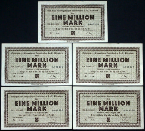 "MÜNCHEN / MUNICH 1923 5pcs consecutive! ""Bavarian Construction"" 1 Million Mark"