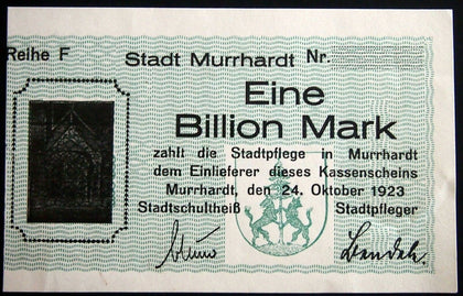 MURRHARDT 1923 *Uncataloged Specimen* 1 Trillion Mark German Notgeld 1 Billion