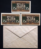 NEUBRANDENBURG 1921 3x75 Pf + RARE Robert Ball envelope! German Notgeld