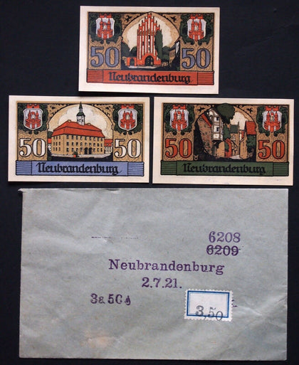 NEUBRANDENBURG 1921 3x50 Pf + RARE Robert Ball envelope! German Notgeld