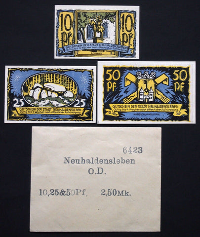 NEUHALDENSLEBEN 1922 complete series + RARE Robert Ball envelope! German Notgeld