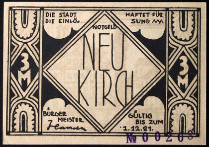 NEUKIRCH 1922 XX-RARE WITH SERIAL! 3 Mark German Notgeld