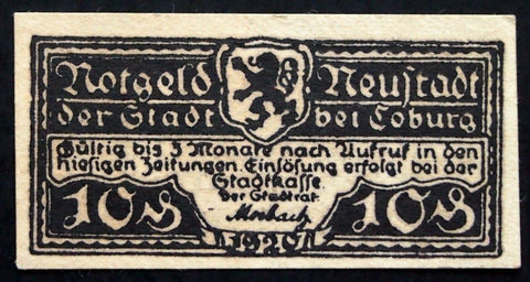 NEUSTADT bei COBURG 1920 small 10 Pf circulating Notgeld Germany