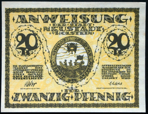NEUSTADT in HOLSTEIN 1920 20 Pf circulating German Notgeld