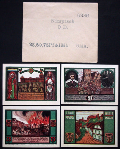 NIMPTSCH 1921 complete set + RARE Robert Ball envelope! Schlesien Notgeld German