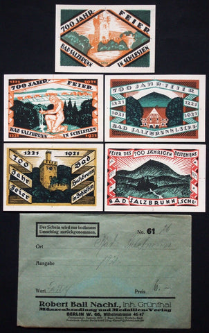 OBER-SALZBRUNN 1921 complete set + RARE Robert Ball envelope! German Notgeld