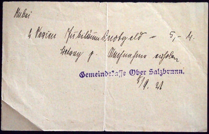 OBER-SALZBRUNN 1921 Original Receipt for 4 sets of Notgeld Extremely Rare!