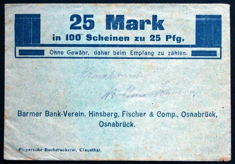 OSNABRÜCK Uncataloged Notgeld Envelope for 100x25 Pf notes! Germany
