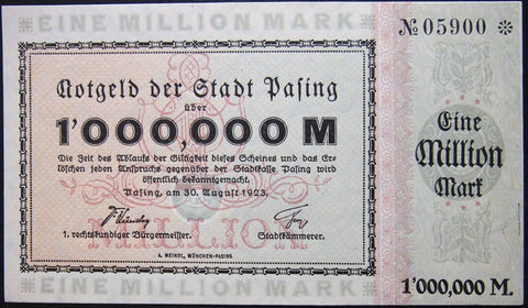 PASING 1923 1 Million Mark nice serial 05900! Inflation Notgeld Germany Bavaria