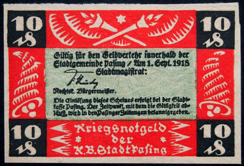 PASING 1918 SPECIMEN 10 Pf w/o series letter circulating German Notgeld Bavaria