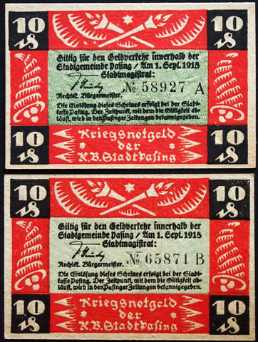 PASING 1918 10 Pf Series A, B circulating Notgeld Germany Bavaria