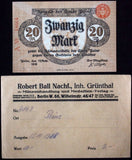 PEINE 1918 20 Mark Grossnotgeld in RARE Robert Ball Envelope! German Notgeld