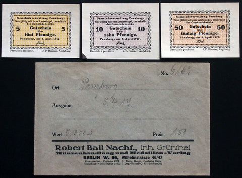 PENZBERG 1917 complete set w/rare Robert Ball Envelope! circulating Notgeld