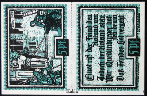 "QUEDLINBURG 1921 double note with RARE ""Kahla"" overprint! 5+5Pf German Notgeld"