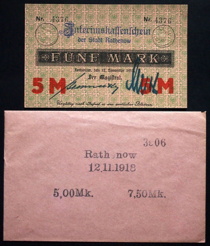 RATHENOW 1918 5 Mark Grossnotgeld + rare Robert Ball envelope! German Notgeld