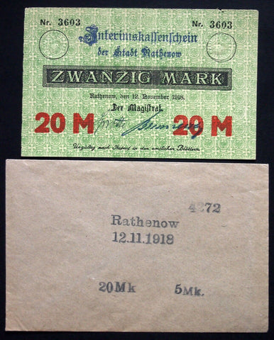 RATHENOW 1918 20 Mark Grossnotgeld + rare Robert Ball envelope! German Notgeld