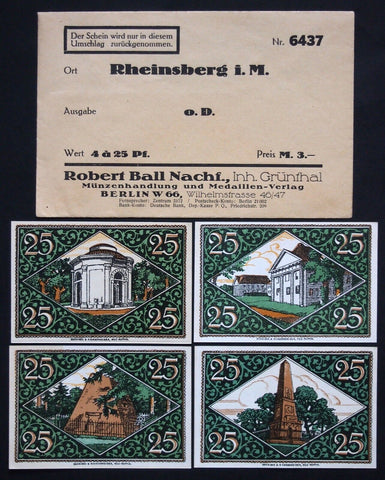 "RHEINSBERG ""Frederick the Great"" 4x25 set w/rare Robert Ball envelope! Germany"