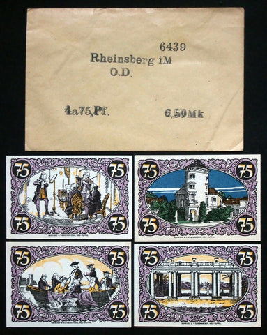 RHEINSBERG 4x75 Pf + rare Robert Ball envelope! German Notgeld