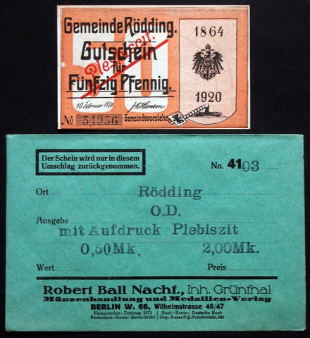 "RÖDDING 1920 rare ""Plesbiscit"" error overprint! + orig. Robert Ball envelope!"