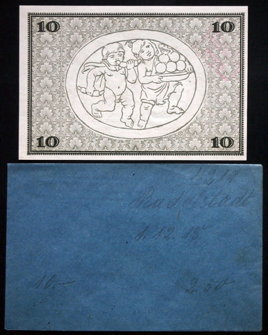 RUDOLSTADT 1918 10 Mark Grossnotgeld + rare Robert Ball envelope! German Notgeld