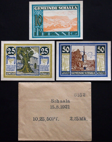 SCHAALA 1921 complete series in RARE Robert Ball envelope! German Notgeld