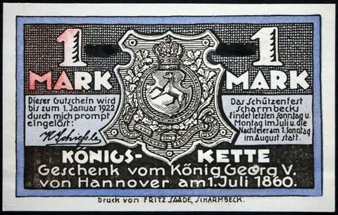 "SCHARMBECK 1921 ERROR Red ink mostly missing! ""Shooting Range"" Rare 1mk Notgeld"