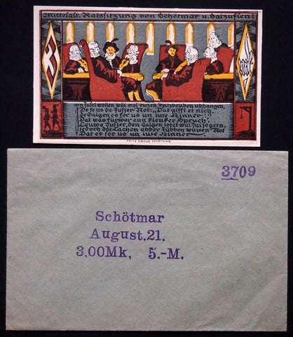 "SCHÖTMAR 1921 ""Medieval Council"" complete + orig. Robert Ball envelope! Germany"