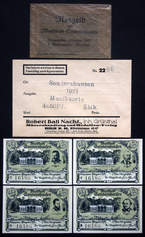 "SONDERSHAUSEN 1921 ""Music Fest"" complete + orig. AND Robert Ball envelope!"