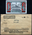 SÖRUP 1920 50 Pf w/rare Robert Ball envelope! German Notgeld