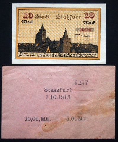 STASSFURT 1918 10 Mark Grossnotgeld + orig. Robert Ball envelope! German Notgeld
