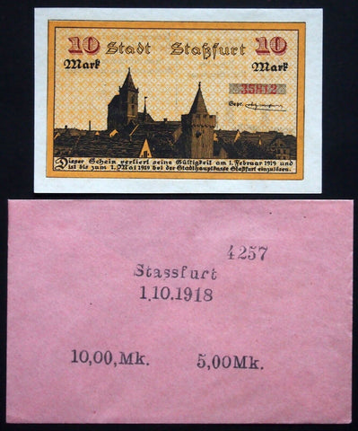 STASSFURT 1918 10 Mark Grossnotgeld + Robert Ball dealer envelope! German Notgeld