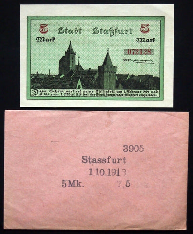 STASSFURT 1918 5 Mark Grossnotgeld + orig. Robert Ball envelope! German Notgeld