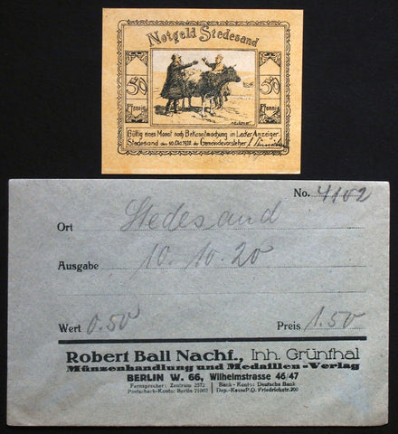 STEDESAND 1920 50 Pf in RARE 1920s Robert Ball dealer envelope! German Notgeld