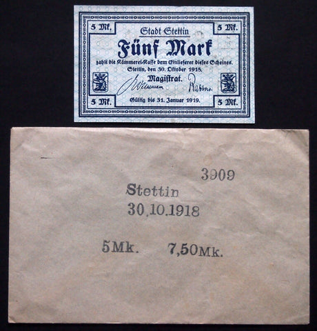 STETTIN 1918 5 Mark Grossnotgeld in rare Robert Ball envelope! German Notgeld