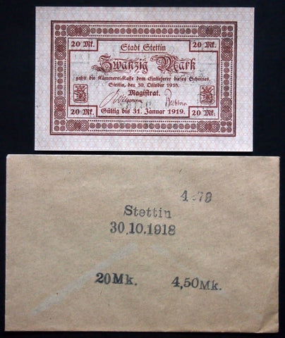 STETTIN 1918 20 Mark Grossnotgeld in rare Robert Ball envelope! German Notgeld