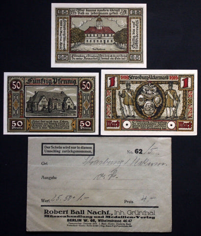 STRASBURG 1921 complete series in RARE Robert Ball envelope! Notgeld Germany